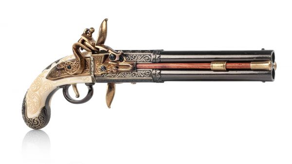 Bailes Doppellaufpistole Deko - England 1750