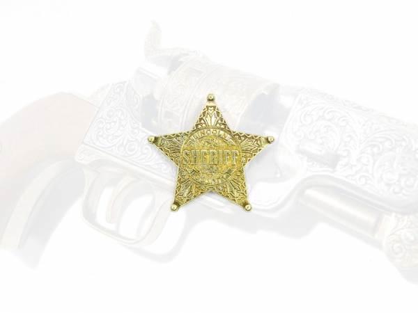 Sheriffstern Lincoln County - messingfarben mit Sicherheitsverschluss