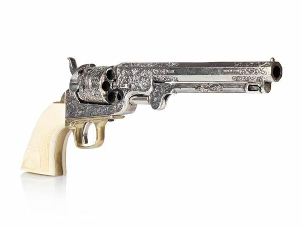 Colt Navy 1851 Deko Revolver in silber mit Eagle Grip