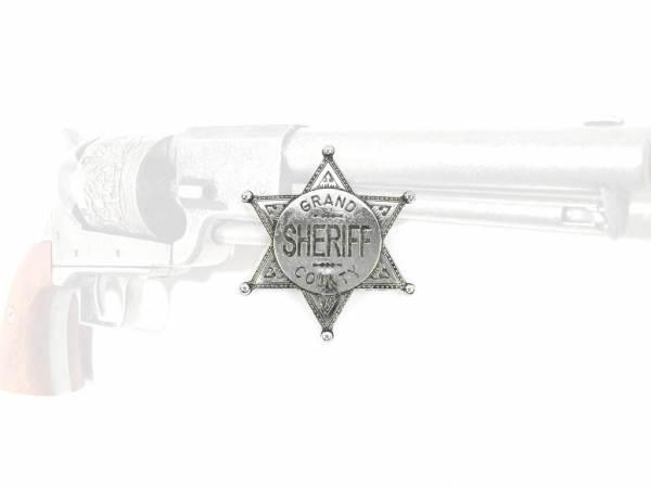 Sheriffstern Grand County - silberfarben mit Sicherheitsverschluss